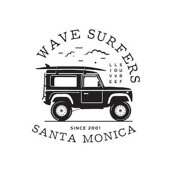 Design vintage con stampa logo surf per t-shirt e altri usi. tipografia di wave surfers citazione calligrafia e icona del furgone. emblema di patch grafico surf disegnato a mano insolito. vettore di riserva.