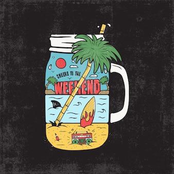 Stampa grafica vintage surf per il web design o magliette, poster. paesaggio insolito della scena del surf da spiaggia con registratore a nastro retrò, palme, tavola da surf, mare e squalo all'interno del barattolo. estate all'aperto. vettore di riserva.