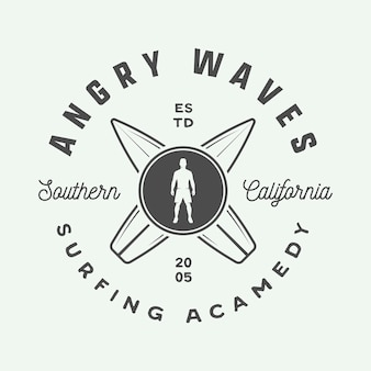Vintage surf logo emblema distintivo etichetta marchio international surf day card graphic art