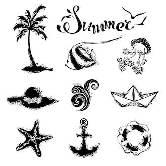 Simboli vintage per il tuo design tropicale isolato su sfondo bianco