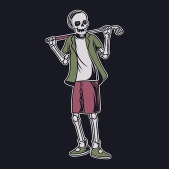 T-shirt vintage design la vista frontale del teschio porta un bastone sulle spalle illustrazione di golf