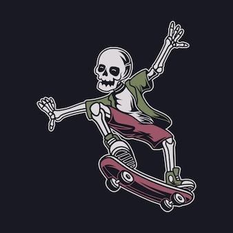 Vista laterale del design della maglietta vintage del teschio in un'illustrazione di skateboard in posizione di salto