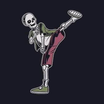 Vista laterale del design della maglietta vintage del teschio che calcia con l'illustrazione di karate del piede sinistro