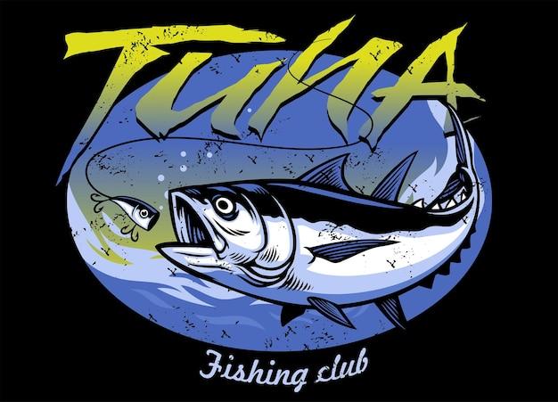 T-shirt vintage design di pesca del tonno con texture