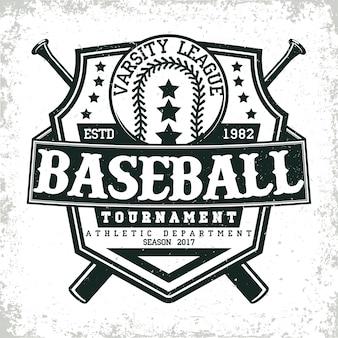 Grafica t-shirt vintage, timbro con stampa grange, emblema di tipografia da baseball, logo sportivo design creativo,