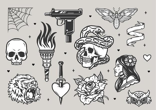 Tatuaggi vintage set monocromatico con teschi torcia ardente gorilla teste di gufo testa di morte falena bella donna ragnatela uzi pistola rosa con occhio cuore trafitto con pugnale