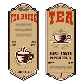 Modelli di volantini per negozio di tè vintage. d