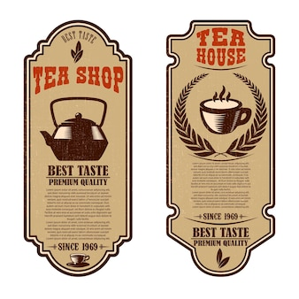 Modelli di volantini per negozio di tè vintage. elementi di design per logo, etichetta, segno, distintivo.