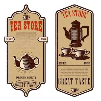 Modelli di volantini per negozi di tè vintage