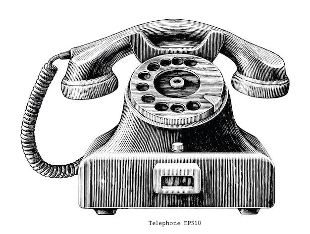 Tiraggio della mano del telefono dell'annata isolato su priorità bassa bianca