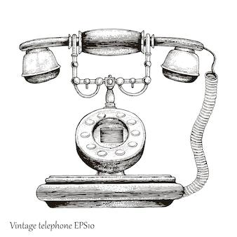 Telefono vintage a mano disegno stile incisione, telefono retrò dispositivo di comunicazione iniziale