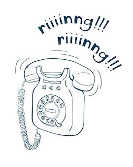 Illustrazione al tratto disegnato a mano del telefono dell'annata. stile schizzo