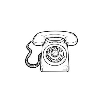 Icona di doodle di contorni disegnati a mano del telefono dell'annata. vecchio telefono e comunicazione, telefonata, concetto di ricevitore