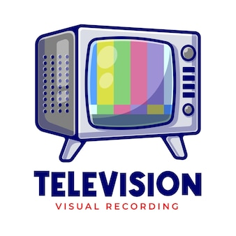 Televisione d'epoca nessun segnale mascotte cartoon logo modello. logo modificabile della società televisiva.