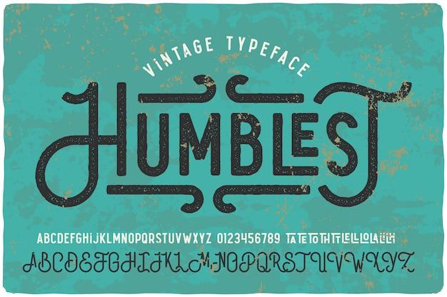 Set di caratteri vintage con texture