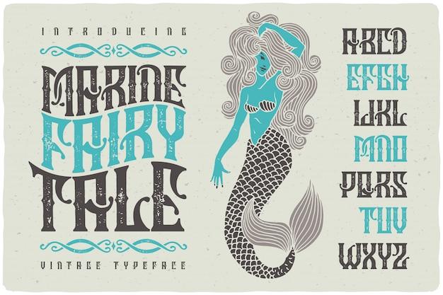 Carattere tipografico strutturato vintage con illustrazione di sirena
