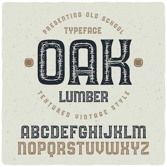 Carattere tipografico con texture vintage