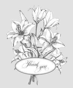 Biglietto di ringraziamento vintage con gigli in fiore e con farfalle template vector