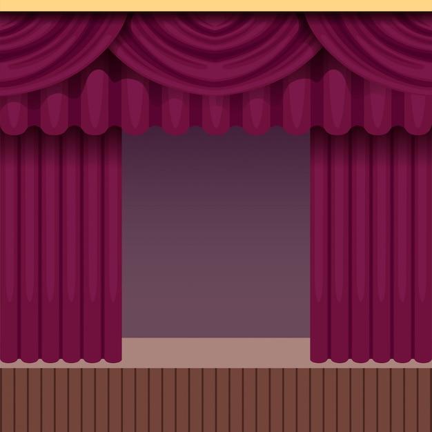 Sfondo di scena teatrale vintage con tenda viola. palco in legno con drappeggi in velluto e tappetini. cornice interna colorata. illustrazione.