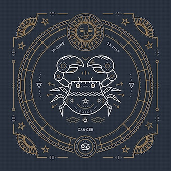 Etichetta del segno zodiacale cancro linea sottile vintage. simbolo astrologico retrò, elemento mistico, geometria sacra, emblema, logo. illustrazione di contorno del colpo.