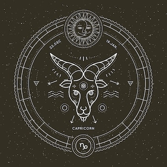 Etichetta vintage segno sottile segno zodiacale capricorno. simbolo astrologico vettoriale retrò, mistica, elemento di geometria sacra, emblema, logo. illustrazione di contorno del colpo.