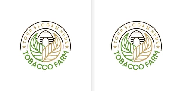 Logo vintage della fattoria del tabacco con stile line art, riferimento logo
