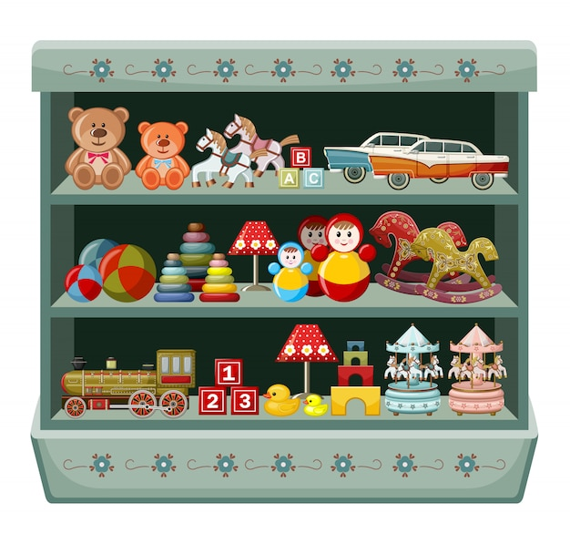 Negozio di giocattoli vintage. scaffali.