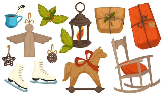 Giocattoli vintage e simboli natalizi per la celebrazione delle vacanze invernali di natale. lanterna isolata con candela, sedia a dondolo e cavallo, angelo e scarpe da pattinaggio. pacco e bevanda calda. vettore in stile piatto