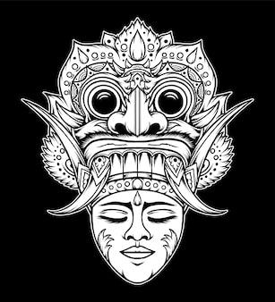 Maschera tradizionale balinese vintage. vettore premium