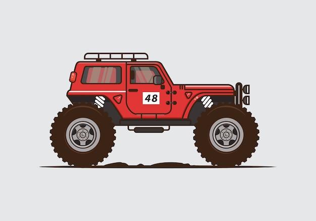 Illustrazione di auto trail vintage. vector piatta