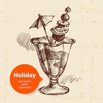 Sfondo di viaggi e vacanze vintage con gelato. illustrazione di schizzo disegnato a mano