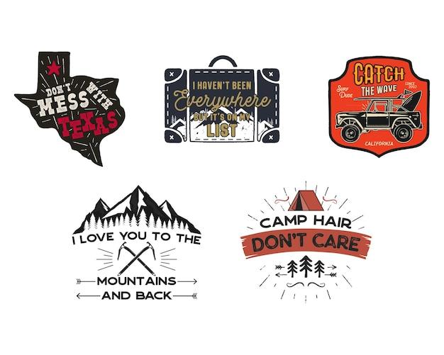 Set di toppe con loghi da viaggio vintage. disegni di etichette da campeggio disegnati a mano. texas, zaino in spalla, surf. emblemi di escursione all'aperto. collezione di loghi escursionistici. vettore di stock isolato su bianco.