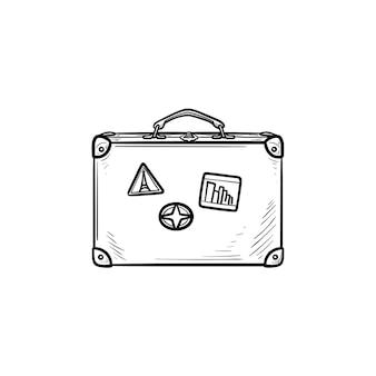 Icona di doodle di contorni disegnati a mano valigia viaggio vintage. viaggio di vacanza, bagaglio e bagaglio, concetto di viaggio