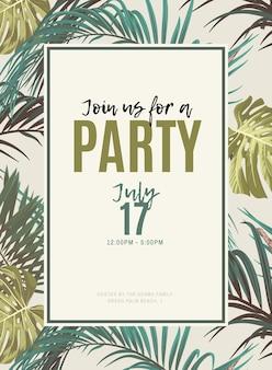 Design tropicale vintage con monstera esotici e foglie di palma reale