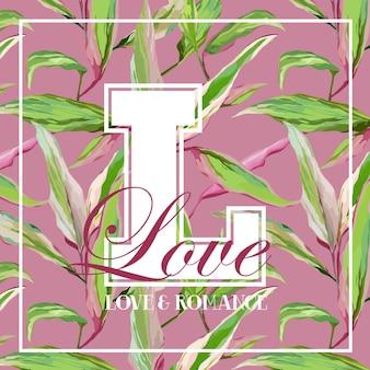 Design grafico vintage con foglie e fiori tropicali - per t-shirt