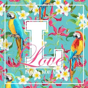 Design grafico vintage con foglie tropicali, fiori e uccelli pappagallo