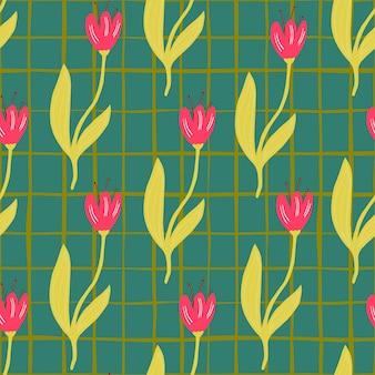 Reticolo senza giunte del tulipano dell'annata su sfondo di linee. carta da parati della natura. per il design del tessuto, la stampa tessile, il confezionamento, la copertura. illustrazione vettoriale semplice.