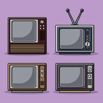 Illustrazione del fumetto del televisore dell'annata