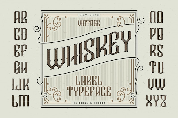Carattere tipografico vintage con etichetta decorativa