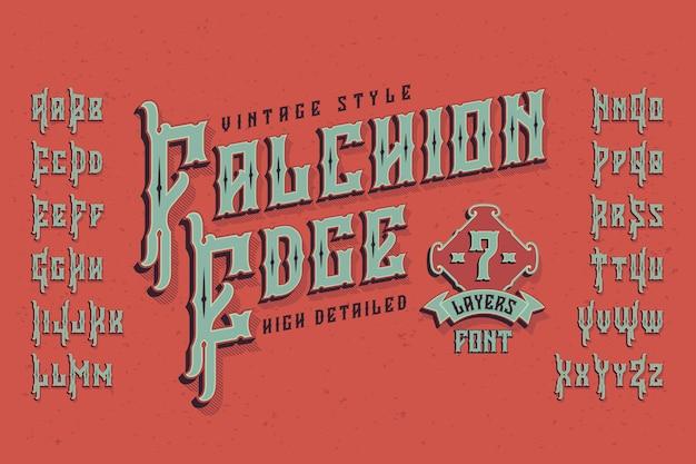 Carattere tipografico vintage con effetto estruso