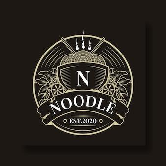 Modello di logo cerchio noodle vintage e unico