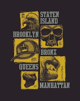 Tipografia urbana vintage, grafica t-shirt, illustrazione della composizione