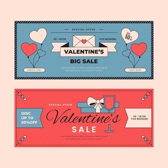Modello di banner vintage di san valentino