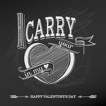 Carta di san valentino vintage Vettore Premium