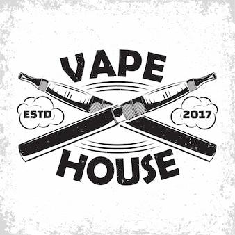 Design del logo vintage vape lounge, emblema del club o della casa di vape, emblema tipografico monocromatico, timbri stampati con grange facilmente rimovibili