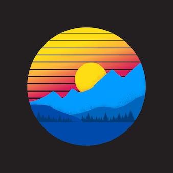 Modello vintage tramonto in montagna stile vaporwave sun su sfondo nero