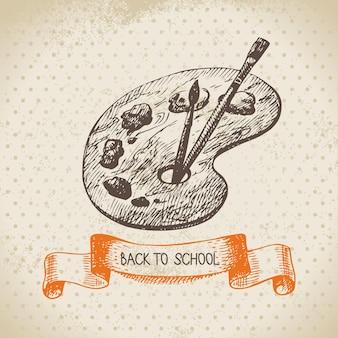 Sfondo vettoriale vintage con illustrazione disegnata a mano di ritorno a scuola