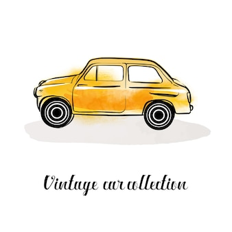 Collezione di auto vettoriali vintage. acquerello e illustrazione di schizzo.