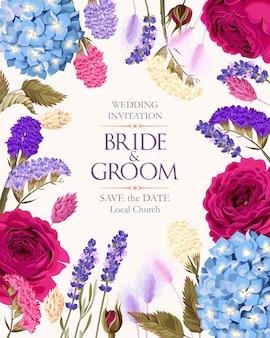 Carta vettoriale vintage con rose viola ortensie e fiori secchi multicolori