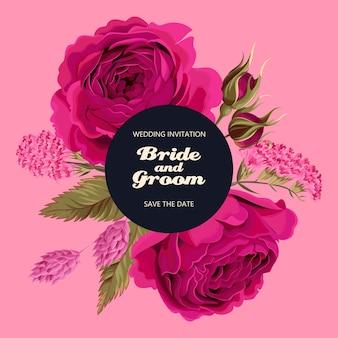 Carta vettoriale vintage con rose e fiori secchi